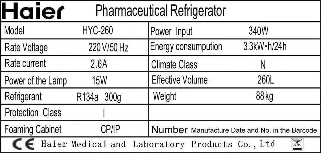Haier Pharmaceutical Refrigerator name Plate