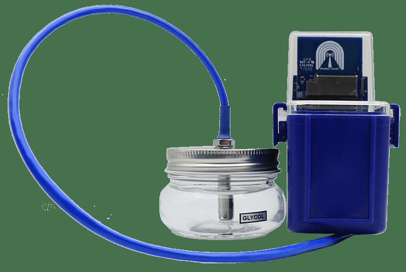 Wireless pharmaceutical refrigerator temperature sensor with glycol jar